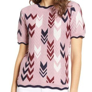 Madison & Berkeley Chevron Scalloped Sweater
